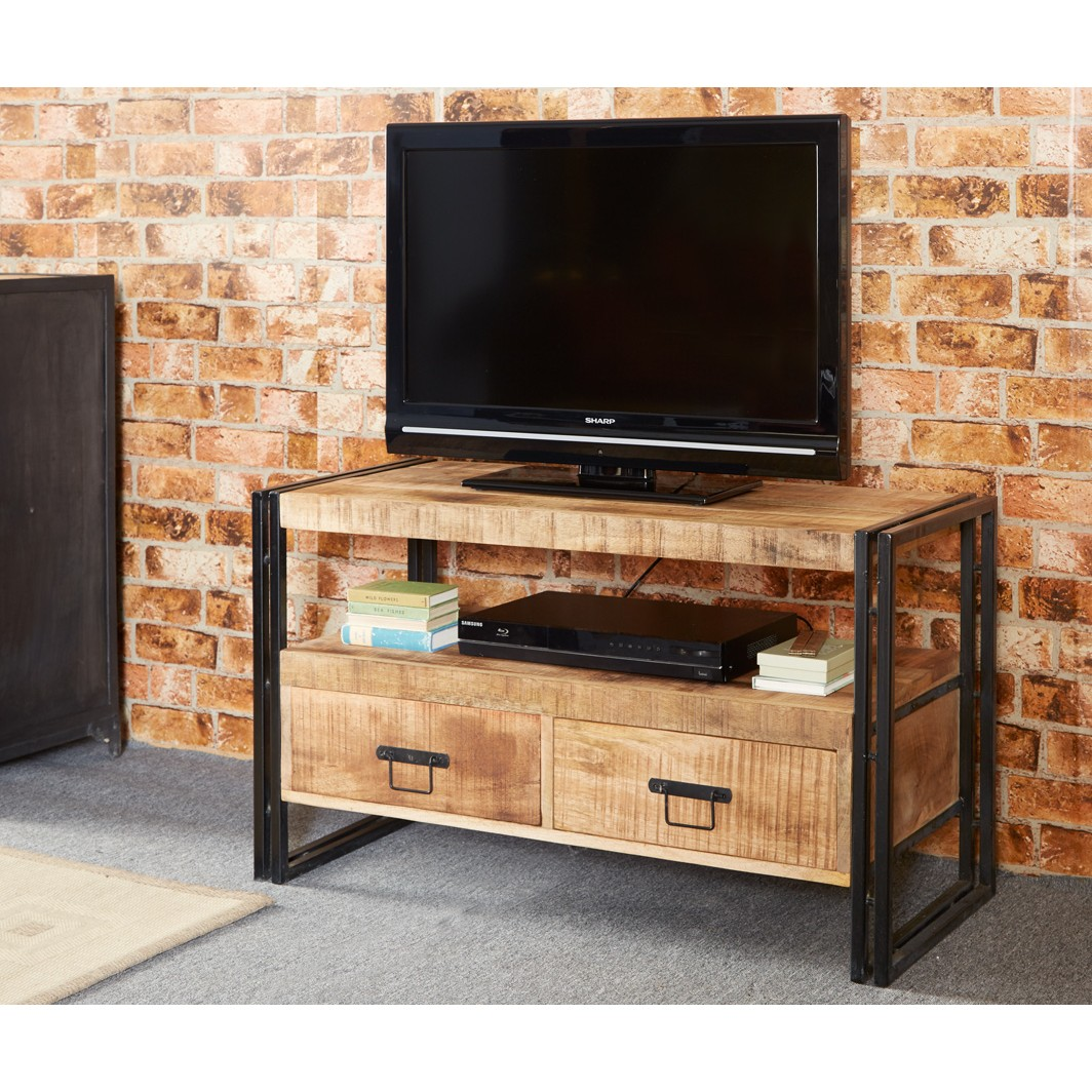 Cosmo industrial tv stand for Wood and metal cabinets