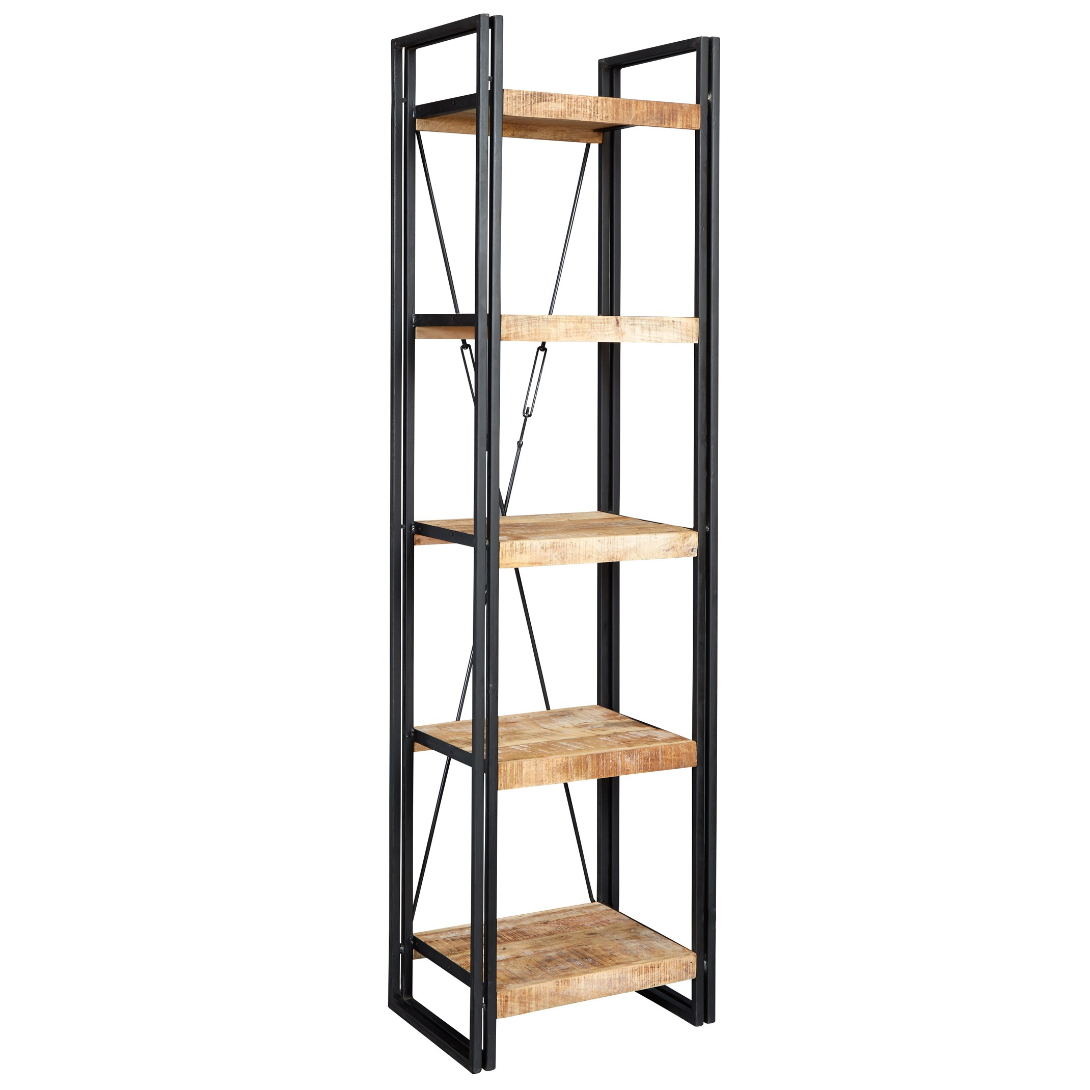 Cosmo Industrial Slim Open Bookcase