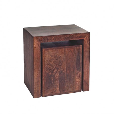 Toko Dark Mango Cubed Nest of 2 Tables