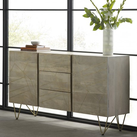 Light Gold Extra Large Sideboard 3 Drawers and 2 Doors