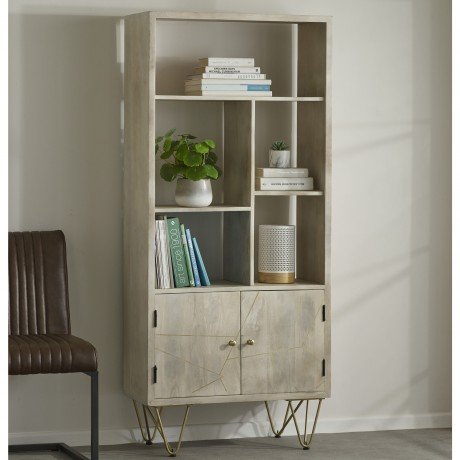 Light Gold Large Bookcase 2 Door