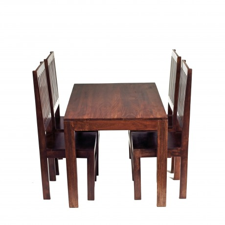 Toko Dark Mango 4 FT Dining Set with Wooden Chairs