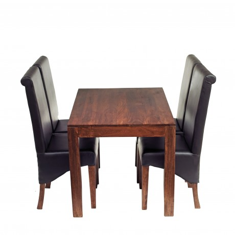 Toko Dark Mango 4 FT Dining Set with Leather Chairs