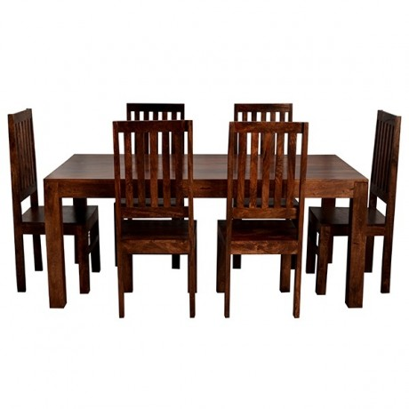 Toko Dark Mango 6 FT Dining Set with Wooden Chairs