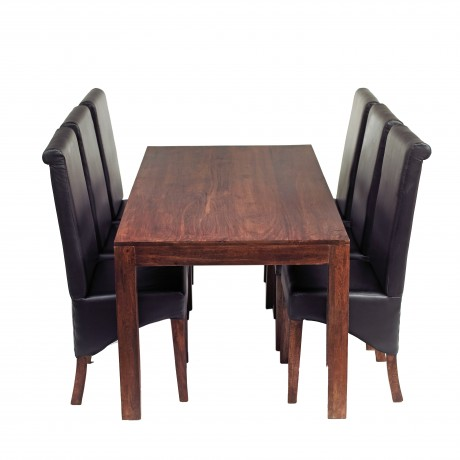 Toko Dark Mango 6 FT Dining Set with Leather Chairs