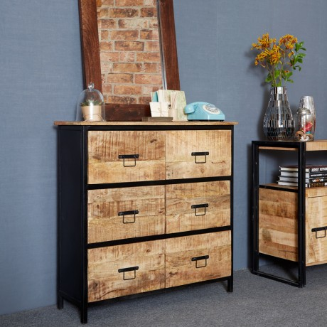 Cosmo Industrial 6 Drawer Chest