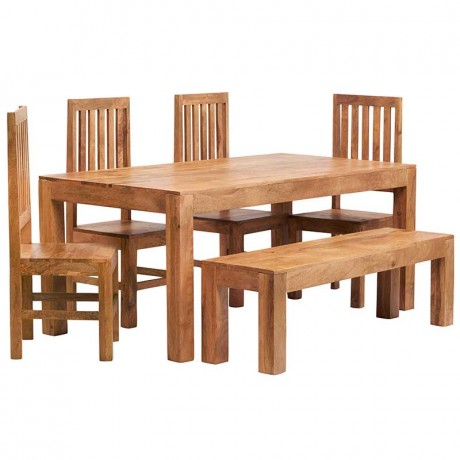 Toko Light Mango 6 FT Dining Set with Bench & 4 Slatted Chairs