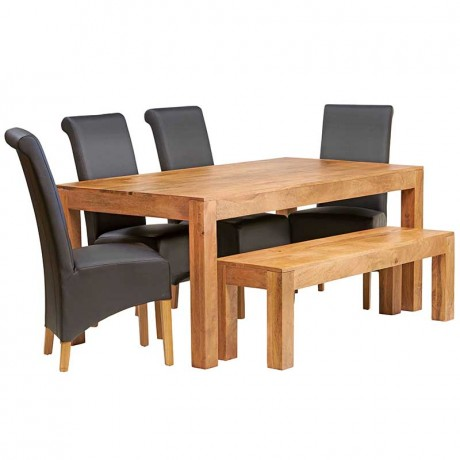 Toko Light Mango 6 FT Dining Set with Bench & 4 Leather Chairs