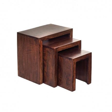 Toko Dark Mango Nest of 3 Tables