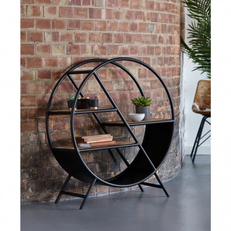 Cosmo Industrial Round Open Bookcase