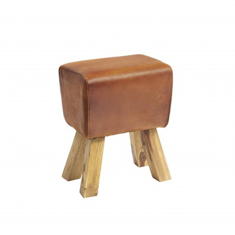 Stool Turned Buck Genuine Leather