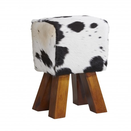 Cowhide Stool Dark