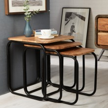 Aspen Iron/Wooden - Pipe Set of 3 Stools