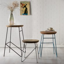 Aspen Iron/Wooden - Round Set of 3 Stools