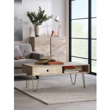 Light Gold Rectangular Coffee Table with Drawer