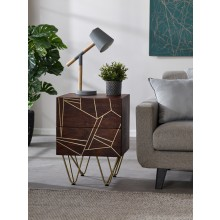 Dark Gold 2 Drawer Side Table