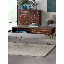 Dark Gold Rectangular Coffee Table with Drawer