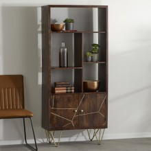 Dark Gold Large Bookcase 2 Door