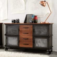 Evoke Iron / Wooden Jali 4 Drawer Sideboard
