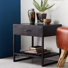 Metalica Dark 1 Drawer Lamp Table