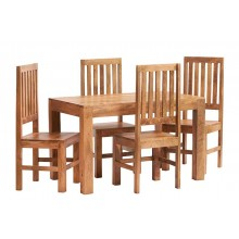 Toko Light Mango 4 FT Dining Set with Wooden Chairs