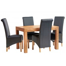 Toko Light Mango 4 FT Dining Set with Leather Chairs