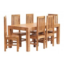 Toko Light Mango 6 FT Dining Set with Wooden Chairs