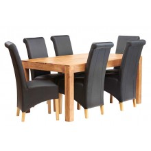 Toko Light Mango 6 FT Dining Set with Leather Chairs