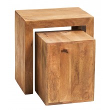 Toko Light Mango Cubed Nest of 2 Tables