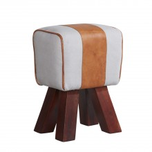 Canvas and Leather Stool